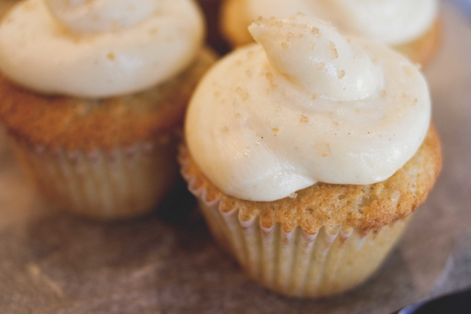 Cardamom cupcakes with rose water + honey buttercream